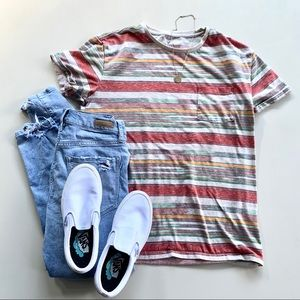 (241)Stripped American Eagle Outfitters Pocket Tee
